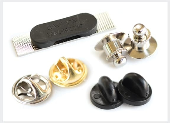 example of different types of lapel pin attachments